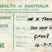 Kay Thomas arrival card